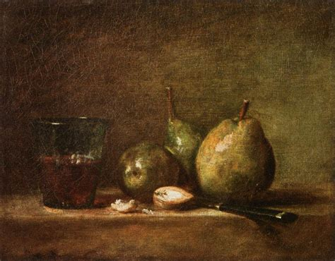Baroque Artworks by Pears Walnuts And Glass Of Wine Jean Baptiste Simeon
