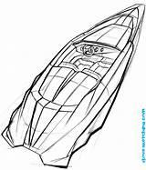 Speedboat sketch template