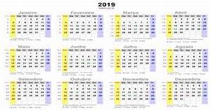 Calendário 2019 com feriados nacionais Brasil, melhor