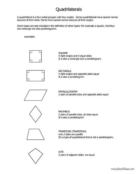 quadrilaterals 1 worksheets free worksheets for kids worksheets for kids 4th grade math