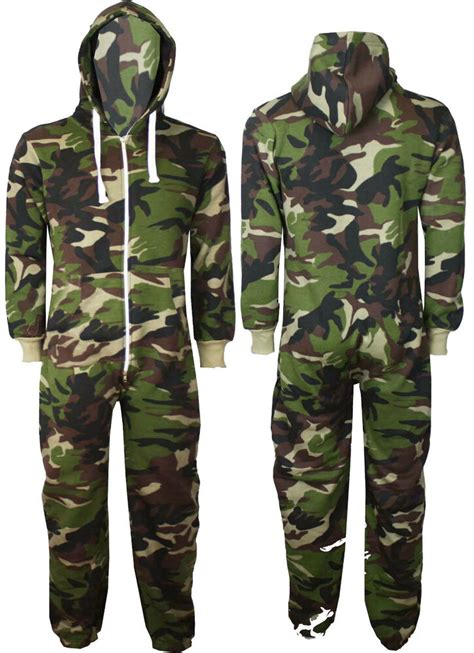 new mens womens camouflage army print onesie hooded