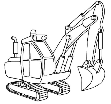 Coloring Excavator by Excavator Outline Coloring Pages Print