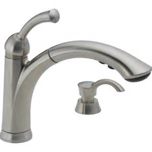 delta kitchen sink faucet shop delta lewiston stainless 1 handle pull out deck mount kitchen faucet at lowes