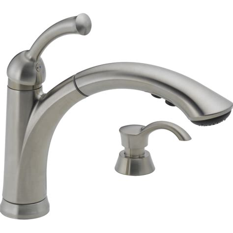 kitchens faucet shop delta lewiston stainless 1 handle deck mount pull out