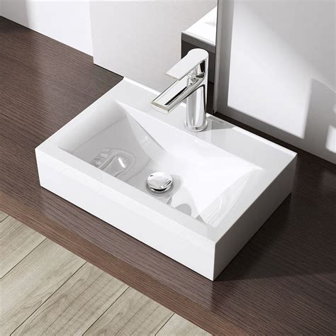 Durovin Bathroom White Basin Sink Range Stone Wall Mounted