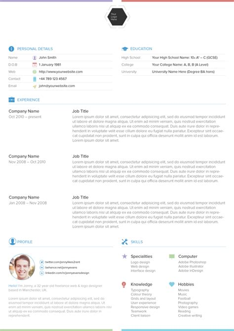 25 best free professional cv resume templates 2014