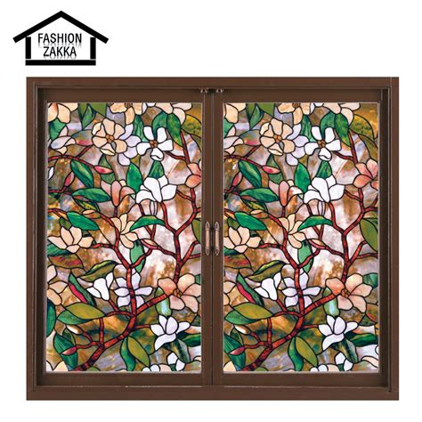 Decorative Window Stained Glass - european church style 45 100 cm magnolia stained glass