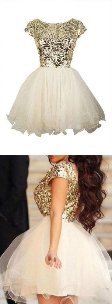 gold sequin homecoming dresses short sleeve prom dresses