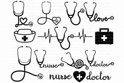 Stethoscope Svg Nurse Clipart Cricut Silhouette Heartbeat