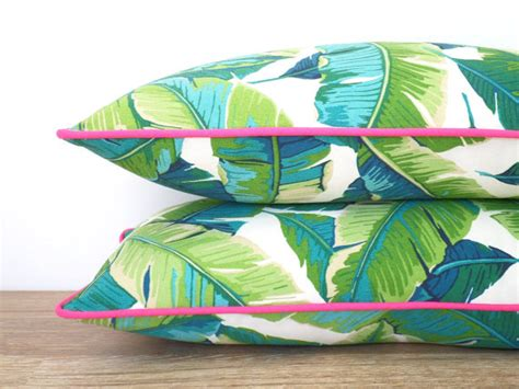 tropical outdoor pillows tropical palm leaf accessories for the home
