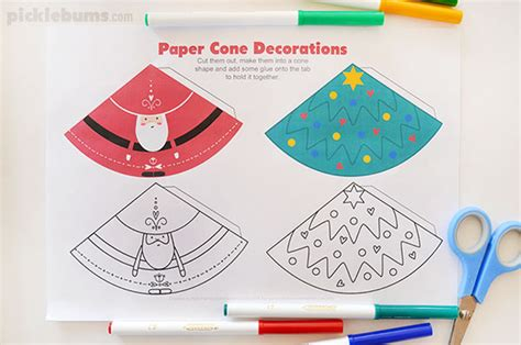 printable christmas cutouts and decorations paper cone decorations free printable picklebums