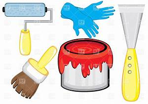 House painter's tools - paintbrush and red paint can ...