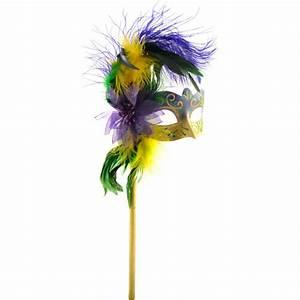 Mardi Gras Feather Flower Stick Mask [22960 ...