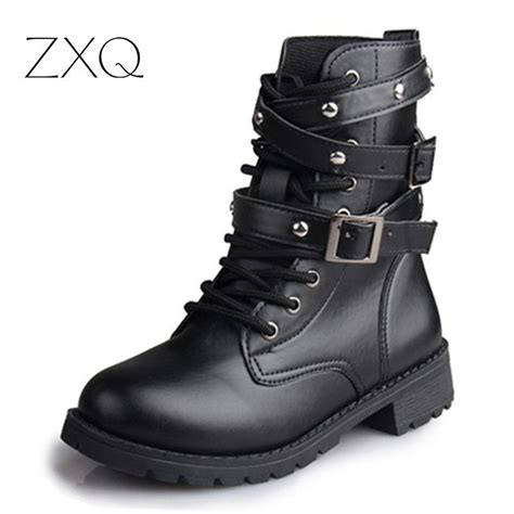 womens leather biker boots sale buy wholesale boots from china boots wholesalers aliexpress com