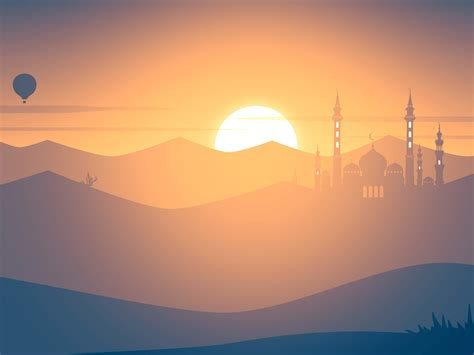 wallpaper sunset mosque hot air balloons landscape