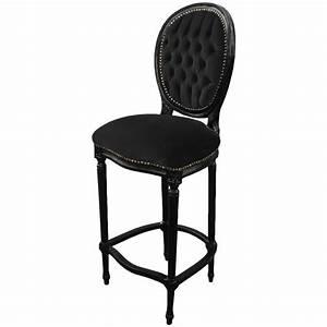 Chaise Louis Xvi : chaise de bar de style louis xvi avec tissu velours noir et bois noir ~ Teatrodelosmanantiales.com Idées de Décoration