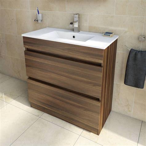 plan walnut floor mounted  drawer unit inset basin