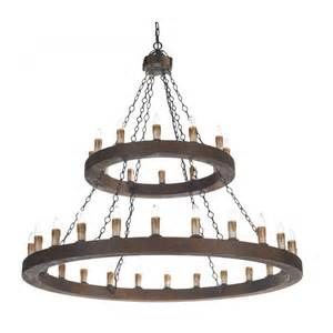 two tier medieval wooden chandelier cartwheel style with 36 lights