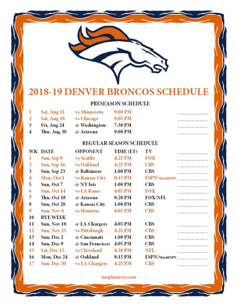printable denver broncos schedule