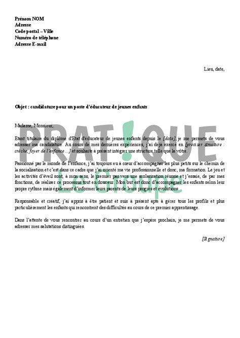 lettre de motivation pour un emploi d 233 ducatrice jeunes enfants pratique fr