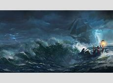 Sfondi barca, mare, opera d'arte, tempesta, subacqueo
