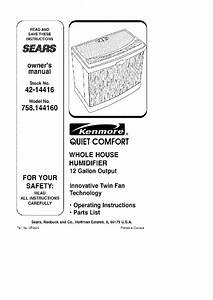 Kenmore Quiet Comfort 758 144160 Whole House Humidifier 12