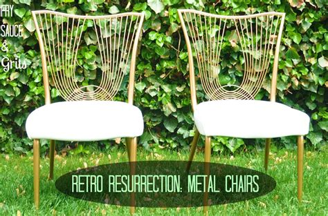 diy retro metal chairs makeover fry sauce and grits