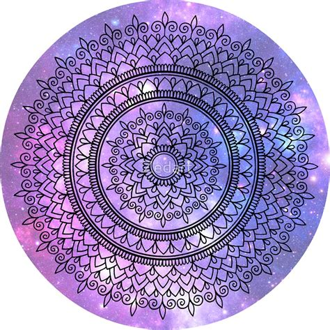 quot hand drawn mandala on pretty purple galaxy star background quot stickers by zedart redbubble