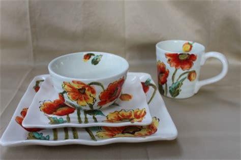 dinnerware tea orange poppy maxcera quot water poppy quot dinnerware set plates bowls mugs