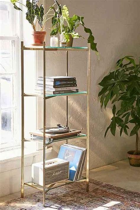 stainless steel  black glass shelves flight bookshelf