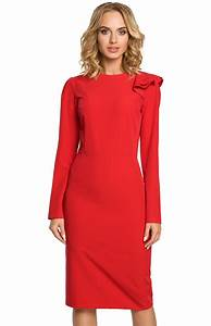 robe fourreau rouge manches longues me326r idresstocode With robe rouge manche longue