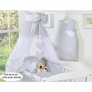 ciel de lit bebe en voile avec bande gris a coe achat With déco chambre bébé pas cher avec chambre de culture germination