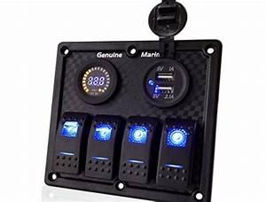 4  6  8 Gang 12v  24v Contura Rocker Switch Panel For Rv
