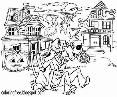 Doo Drawing Scooby Coloring Halloween Printable Haunted