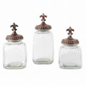 Clear Fleur-de-Lis Canister, Set of 3 Kirklands