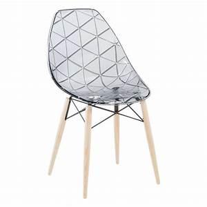 Chaise Transparente Pied Bois : chaise scandinave transparente avec pieds en bois naturel prisma 4 ~ Teatrodelosmanantiales.com Idées de Décoration