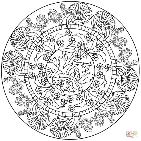 ausmalbild mandala mit hahn muster ausmalbilder