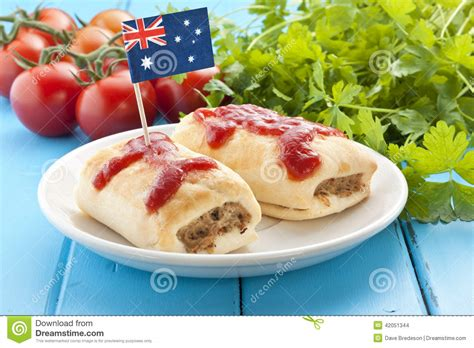 cuisine australienne 澳大利亚腊肠卷食物 库存照片 图片 42051344
