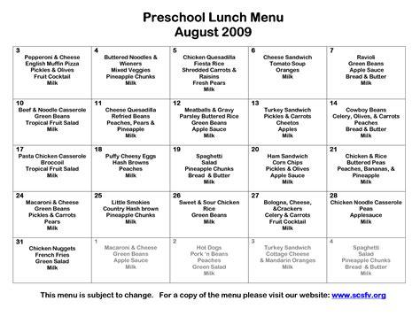 lunch menu for preschoolers 8 best images of printable preschool lunch menu 580