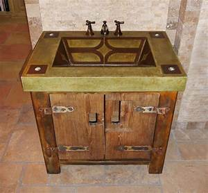 Custom Made Vanity With Rustic Base And Integral Concrete