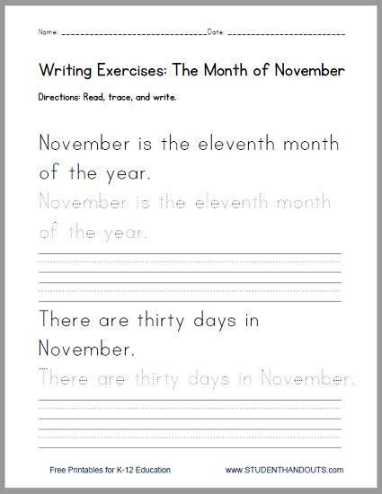 november handwriting practice worksheet student handouts