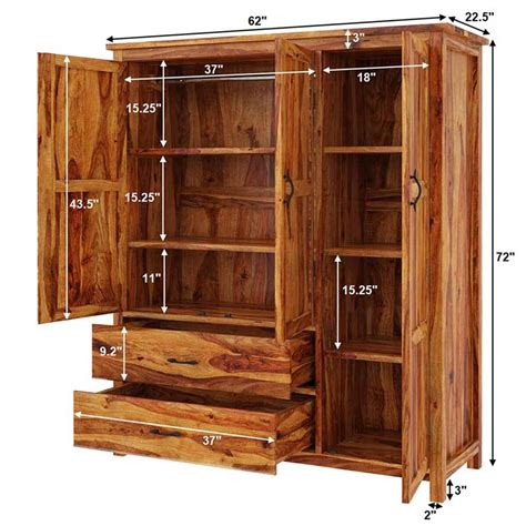 Large Wooden Wardrobe by Sheffield Rustic Solid Wood Large Bedroom Wardrobe Armoire