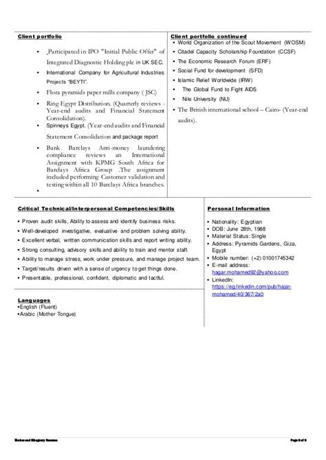 Cia Resume Review by Resume Hajar Mohamed Cia