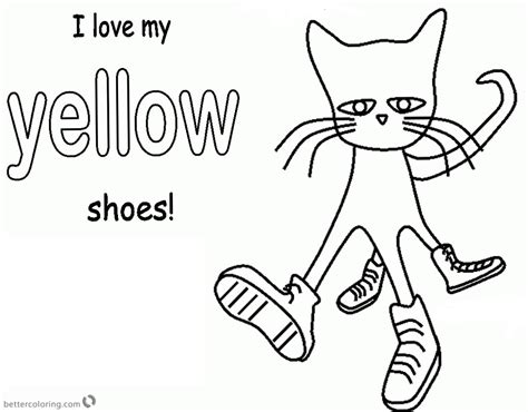 Pete The Cat Coloring Pages Color Yellow Shoes