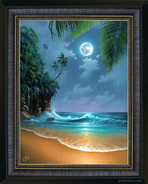 50 beautiful sunset and moon paintings for your
