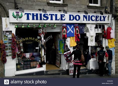 Shop Selling Scottish Tourist Gifts, Lawnmarket, Edinburgh, Scotland Stock Photo, Royalty Free Fun Gifts For 8 Year Old Boy Gag Gift Letter With Purchase Estee Lauder Of Voucher Ideas Bag Contents Your Brother Ribbon Tie