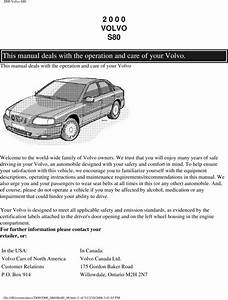 00 Volvo S80 2000 Owners Manual