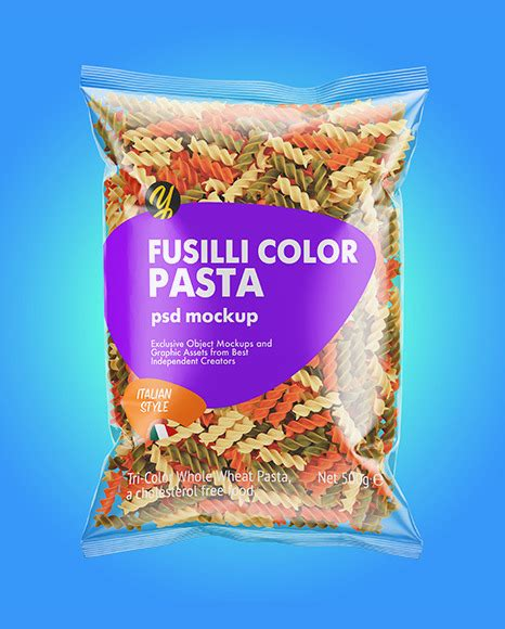 The bag content is not editable. Fusilli Pasta Package Mockup - Free PSD Mockups