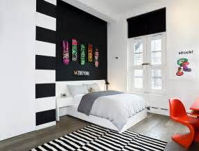 deko jugendzimmer bold black and white bedrooms with bright pops of color