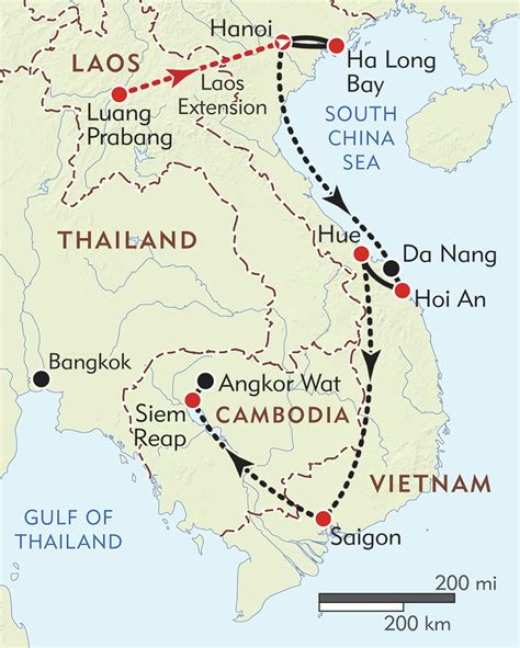 vietnam  cambodia private journey itinerary map